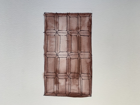 This is a painting of a bar of chocolate.