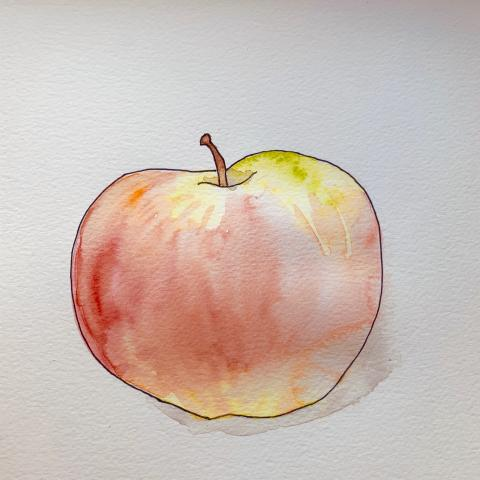 A painting of an apple