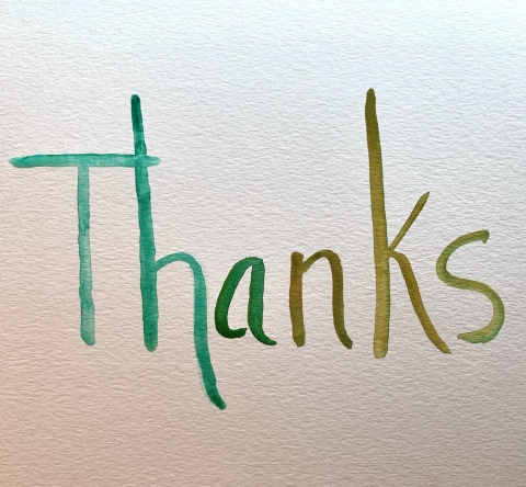 water color image of the word thanks
