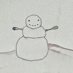 Watercolor image of a snowman